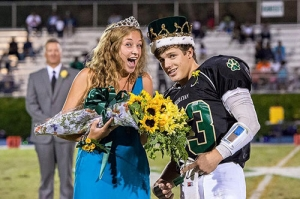 Kylie Reed and Tucker Cannon after being announced Homecoming Queen and King.