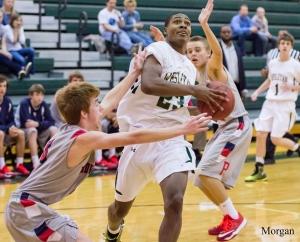 Senior Jason Morrison during a 2014-15 basketball game.