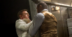 Bond (left), and Hinx (right) have an intense fight while on a train.