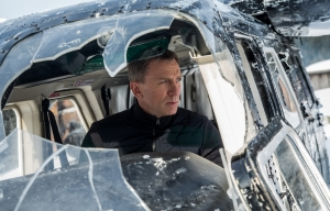 Bond looks over the damage done after a plane crash in the snow.