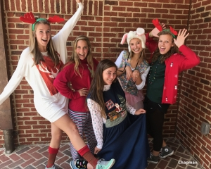 Seniors Grace Chapman, Barrett Ramsey, Gabby Hernandez, Katie Newman, and Ashley Godwin dress up for holiday day.