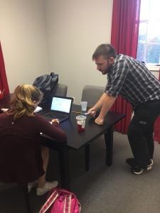 Senior Kelsey Strott studies for a test during a private session at FAST Mentoring. GREER.